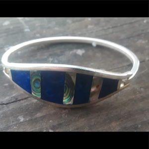 Vintage alpaca abalone bracelet